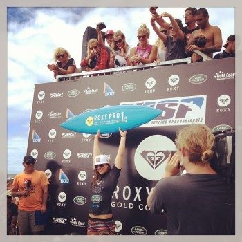 Tyler Wright after winning the Roxy Pro Gold Coast, the first stop on the 2013 ASP Women's World Championship Tour.